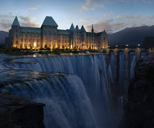 waterfall, castle, and amazing image