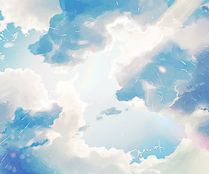 anime, sky, and clouds image