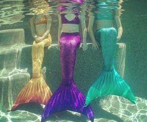 mermaid, purple, and green image