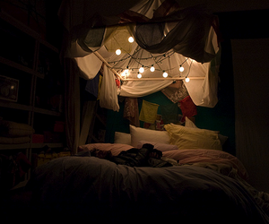 light, bed, and alone image