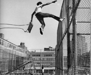 boy, jump, and black and white image