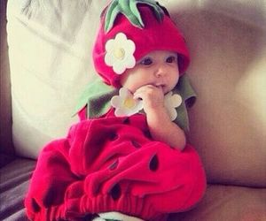 baby, cute, and strawberry image
