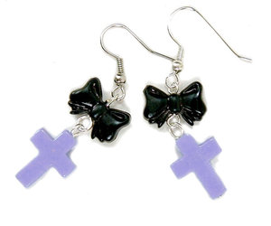 bow, cross, and handmade earrings image
