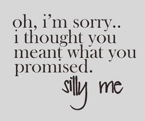 quote, promise, and silly me image