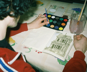 boy, draw, and waterpaint image