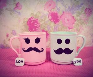 love, mustache, and mug image