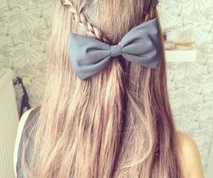 hair, bow, and long hair image