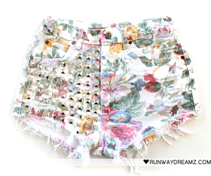 shorts, floral, and studded image