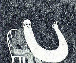 black and white, art, and illustration image