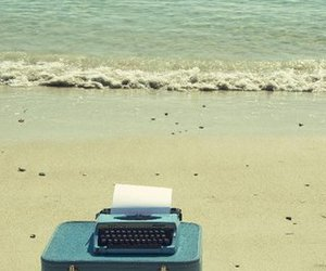 beach, sea, and typewriter image