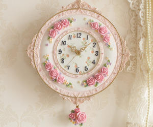 clock, light, and pink image