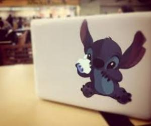 stitch, apple, and disney image