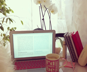 books, flowers, and macbook image