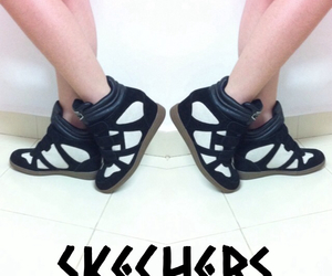 black, skechers, and sports image