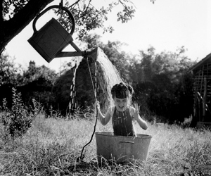 water, black and white, and child image