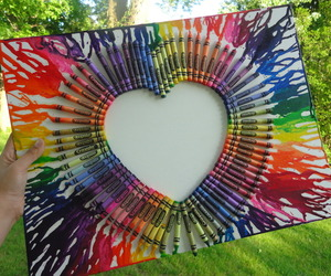heart, rainbow, and art image