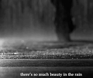 beauty, rain, and black ans white image