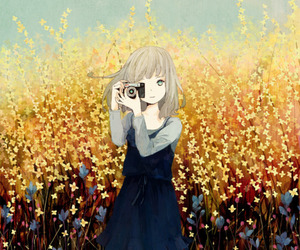 anime, flowers, and camera image