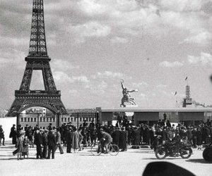 black and white, eiffel tower, and paris image
