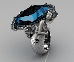 ring, mermaid, and blue image