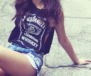 girl, jack daniels, and shorts image