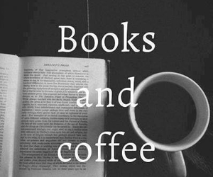 black and white, coffee, and books image
