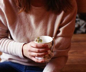 cup, girl, and tea image