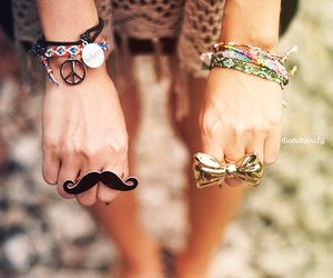 bracelet, rings, and mustache image