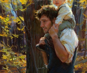 art, father, and son image
