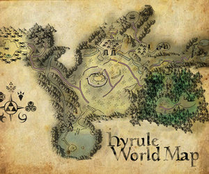 Legend of Zelda, ocarina of time, and hyrule world map image
