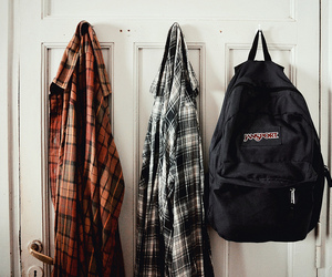 backpack, clothes, and flannel image