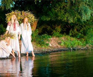 forest, girls, and river image