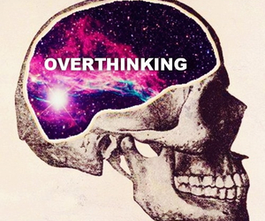 skull, overthinking, and galaxy image