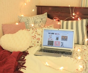 bed, chill, and christmas lights image