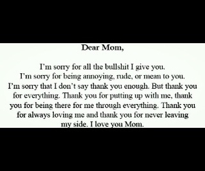 mom, sorry, and love image