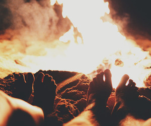 bonfire, couple, and fire image