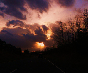 clouds, driving, and sunset image