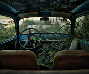 car, abandoned, and nature image