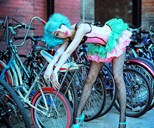 blue hair, bike, and raquel reed image