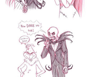 jack and sally, sketch, and Halloween image