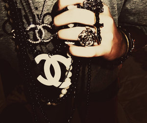 chanel, rings, and necklace image