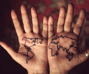 world, tattoo, and hands image