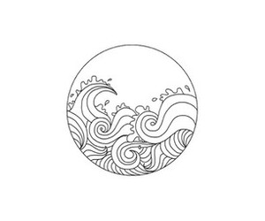 art, drawing, and waves image