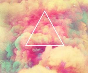 triangle, clouds, and pink image
