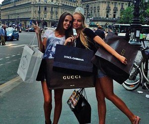 best friends, girls, and shopping image