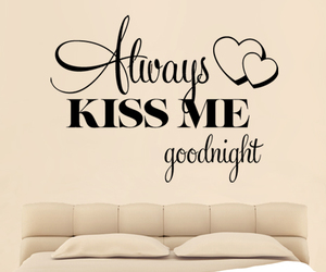 bed, goodnight, and kiss image