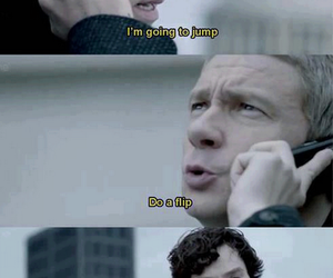 funny, sherlock, and jump image