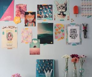 wall, flowers, and colorful image