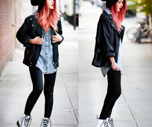 outfit, hair, and black image
