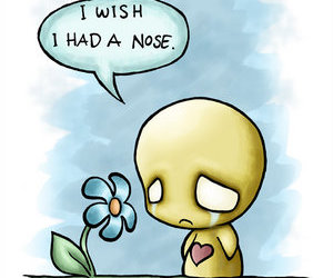 sad, cute, and flower image